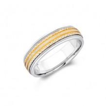 Camelot Sterling Silver & 10k White Gold Blake Wedding Band