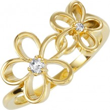 14k Yellow Gold Stuller Diamond Floral Fashion Ring