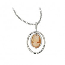 Carla Sterling Silver Hammered Oval Framed Cameo