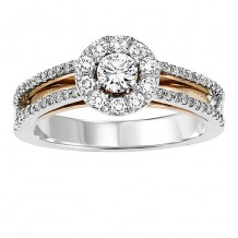 14k Two Tone Gold 3/4ct Diamond Engagement Ring