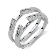 14K White Gold 0.25ct Diamond Guard Women's Wedding Band