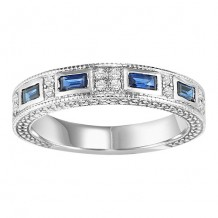 14k White Gold 1/2ct Diamond and Sapphire Wedding Band