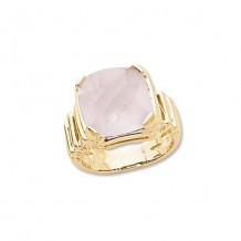 14K Yellow Gold 13mm Cushion Rose Quartz Ring