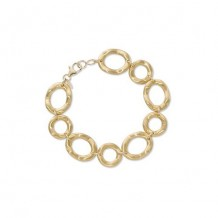 14K Yellow Gold Oval & Round Wavy Bracelet