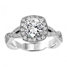 14k White Gold 1/3ct Diamond  Semi Mount Engagement Ring