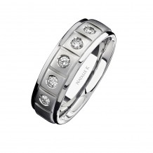 14k White Gold Five Stone Matte Finish Diamond Men's Band