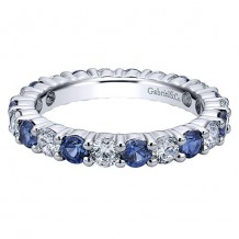Gabriel & Co 14k White Gold 0.90ct Diamond and 1.07ct Sapphire Eternity Band