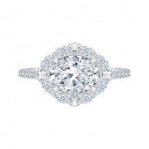 Shah Luxury 14k White Gold Diamond Semi-Mount Engagement Ring