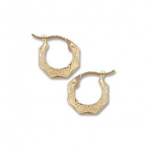 14K Yellow Gold Extra Small Embossed Diamond Cut Hoops