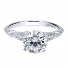 14k White Gold Gabriel & Co. 0.09ct Diamond Engagement Ring