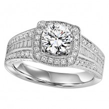 14k White Gold 1/2ct Diamond Engagement Ring with 1ct Center Stone