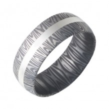 Jewelry Innovations Damascus Stainless Steel Domed Band with a 2mm Sterling Silver Inlay