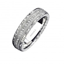 14k White Gold Hand Engraved Pave Diamond Men's Band