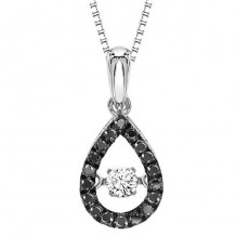 10K White Gold 1/5ct Black & White Diamond Rhythm Of Love Pendant
